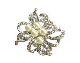 5 Pearl Crystal Rhinestone buttons for Hair Clip, Hair Comb, Fascinator, Shoe Clip, Wedding Invitation Card RB-126