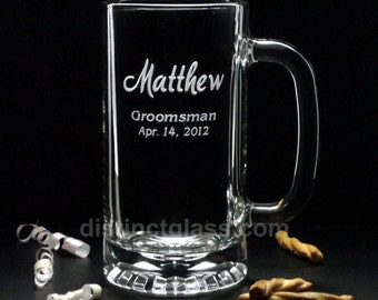 Groomsmen Gifts - BOLD MATTHEW SCRIPT Wedding Beer Mugs - 16 oz Etched Glass by Distinct Glass Studio - Ships to Canada