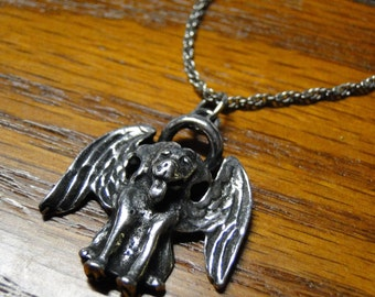 Dog Guardian Charm Necklace - Silver Plated Charm on 18 inch silver rope chain