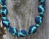 Navy & Aqua-Mommy and Baby Teething/Nursing Necklace