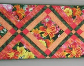 ON SALE! Quilted Table Runner ″Lily Garden″ in Coral, Yellow, Green and Raspberry