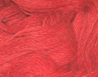 Alpaca Yarn, Cherry Red, Hand Spun and Dyed from Local Herd