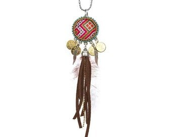 Ethnic necklace with Hill Tribe Hmong fabric - suede tassels coins and Swarovski crystal - tassel necklace - bohemian wanderlust necklace