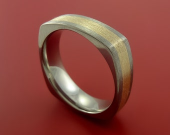 14K Yellow Gold and Titanium Ring Square Band any Sizing from 3-22 Unique