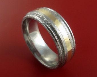 Damascus Steel 14K Yellow Gold Ring Wedding Band Genuine Craftsmanship