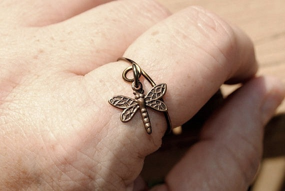 Adjustable Wire Ring, Charm Ring Antique Brass with Dragon Fly Charm