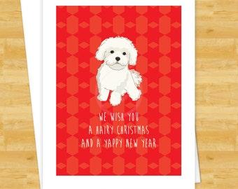 Dog Christmas Cards Pomeranian We Wish You a Hairy Christmas