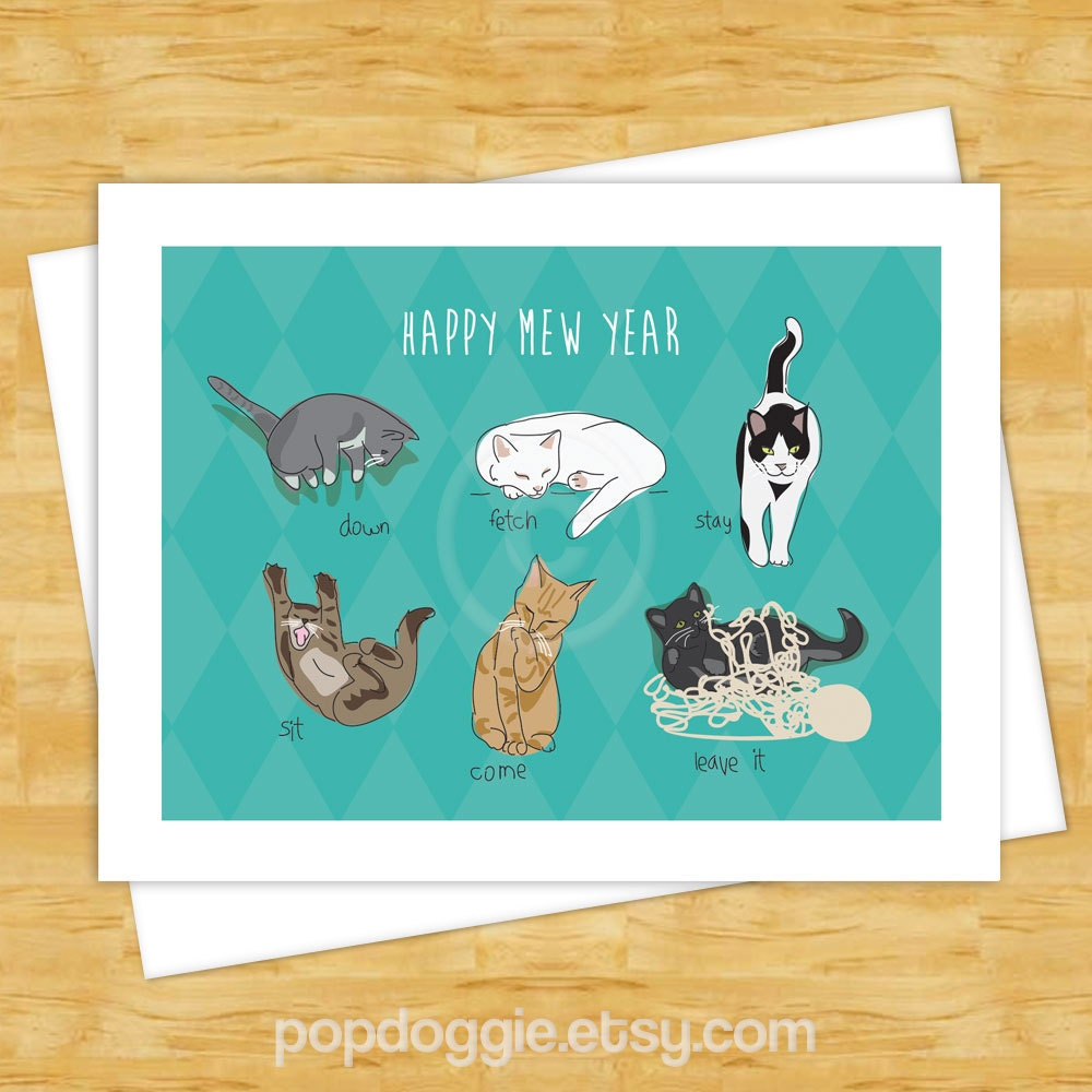 cat christmas cards happy mew year funny cat holiday happy