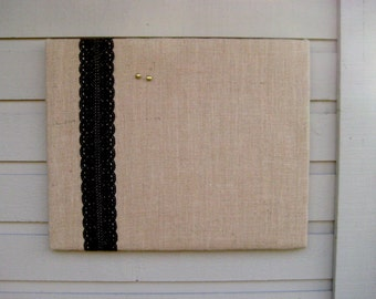 Country Chic Burlap and Lace Pinboard, to display your photos or use as a vision Board, great for Dorm Decor or a country wedding