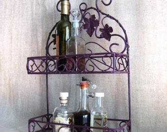 Shabby Grapevine Metal Shelf in Wild Plum / French Country Shelf / Shabby Metal Rack for Kitchen or Bath / Home Decor