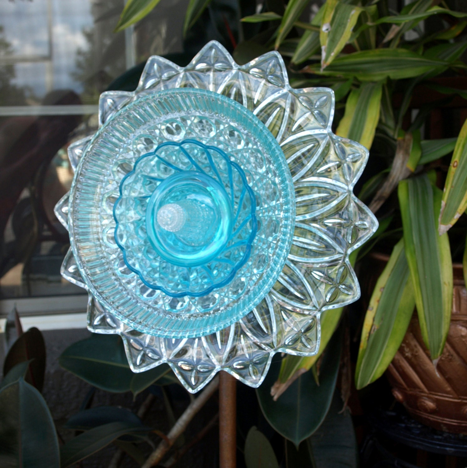 Blue depression glass repurpose plate flower federal petal for Flowers made of glass