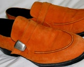 Vintage 1980s ORANGE Suede Kenneth Cole Men's LOAFERS Shoes with Buckle size 10