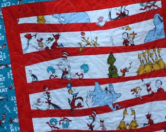 Dr Seuss Twin Bed Quilt, Toddler Bedding,  Seuss Twin Bedding,  The Cat in the Hat,  MADE TO ORDER