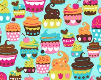 Michael Miller Turquoise Sweet Treats fabric - 1 yard
