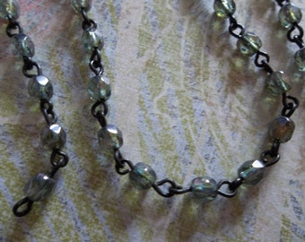 Bead Chain Green 4mm Fire Polished Glass Beads on Jet Black Beaded Chain - Qty 18 Inch strand