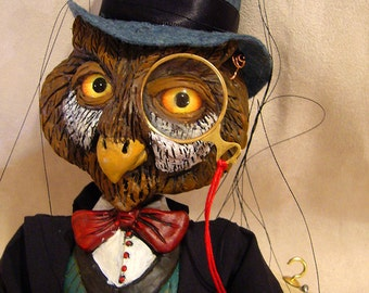 Owl with a Monocle Marionette (Made to Order)