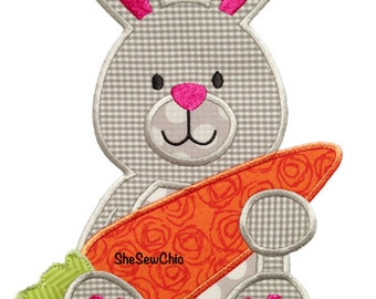 Bunny with Carrot- Perfect for Easter and Spring -  Digital Applique Embroidery Design (073)