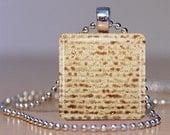 Matzo Glass Tile Pendant Necklace