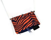 Binder Pencil Case Orange & Navy Tiger Striped Pencil Case for 3 Ring Binder  Back to School Supplies Ready to Ship Organizer Kids Gift