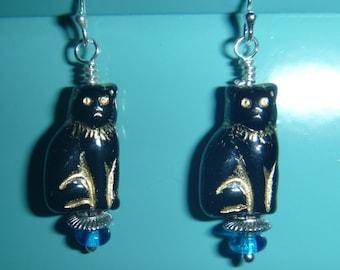 Black Czech glass cat earrings with sterling silver hooks
