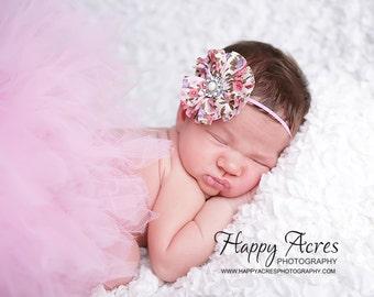 PINK TUTU....newborn tutu, baby tutu with vintage style headband, newborn photography prop.