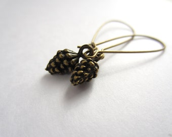 Antiqued Brass Pine Cone Earrings Fall Fashion Jewelry