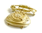 Gold Vintage Rotary Telephone Brooch