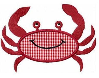 Summer crab applique machine embroidery design