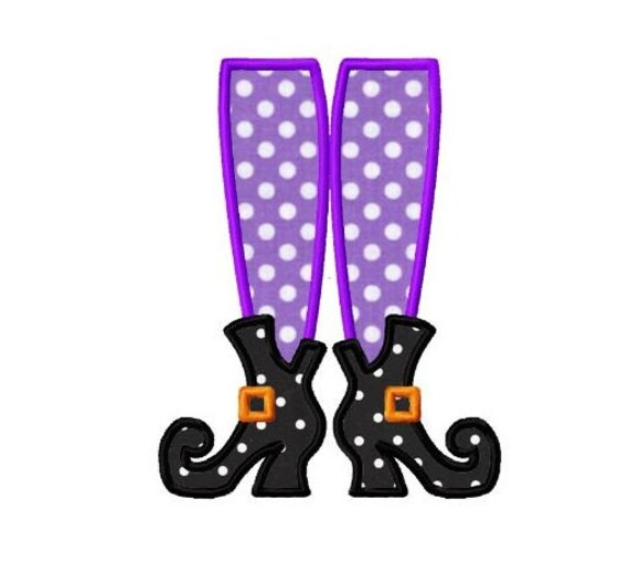 Halloween Witch Boots Applique Machine Embroidery Design