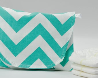 Teal Chevron Diaper and Wipe Clutch with Polka Dot Lining