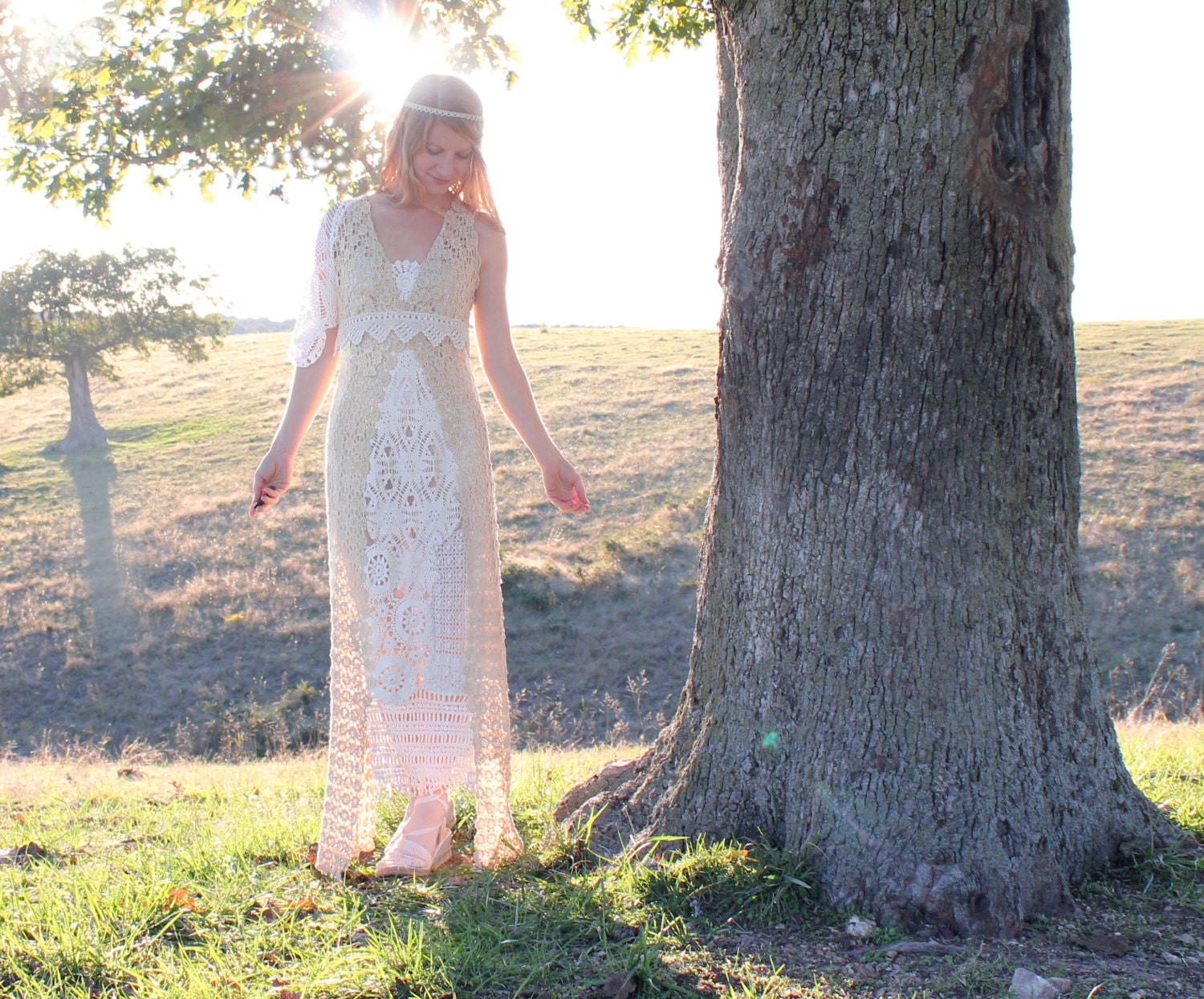 Handmade Eco Wedding Dress in Vintage Cotton by