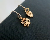 Teeny tiny lotus earrings, gold lotus earrings, small size gold lotus charm
