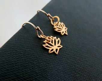 Teeny tiny lotus earrings, rose gold lotus earrings, small size dangle