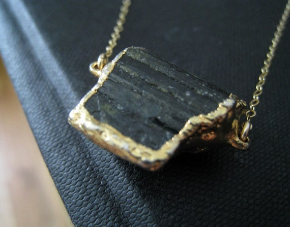 Black tourmaline gold edged necklace, raw finish druzy pendant necklace, ooak