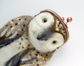 OWL Wet Felted  coin purse with bag frame metal closure