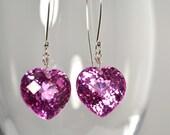 LP 1010  Dazzling Hot Pink Lab Topaz Heart Earrings
