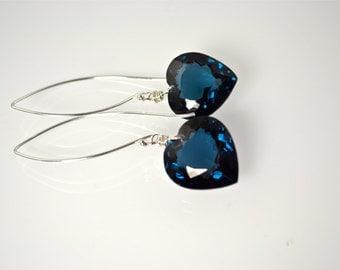 LP 1011  Teal Blue Lab Topaz Heart Drop Earrings