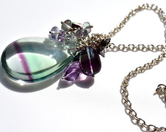 LP 727   One Of A Kind Fluorite And Amethyst And Pearl Necklace