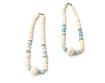 Vintage Cream and Teal Beaded Necklace