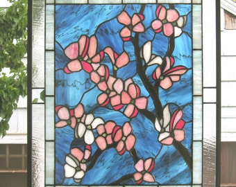 """Pink Dogwood Flowers- 20"""" x 24""""--Stained Glass Window Panel"""