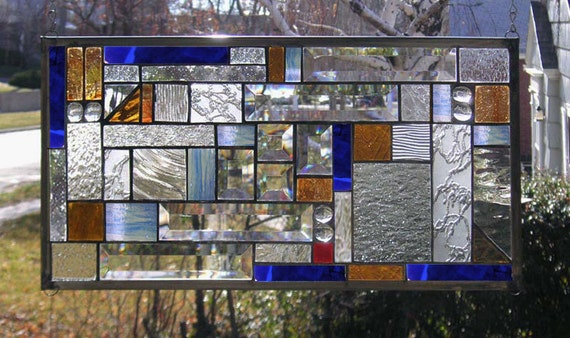 """Mission Style Amber & Cobalt Blue Geometric 2---10"""" x 19""""--Stained Glass Window Panel--"""