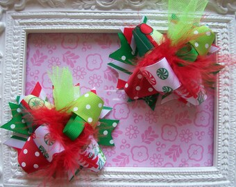 Trendy Christmas---Hair Bows Set of 2---Mini Funky Fun Over the Top Bows