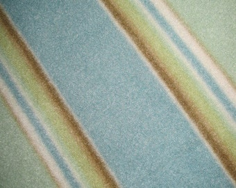 Fleece Blanket of Blue, Brown and Green Stripes with Brown - Ready to Ship Now