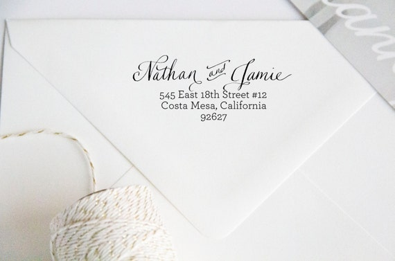 Return Address Wood Handle Rubber Stamp Calligraphy and Text Style