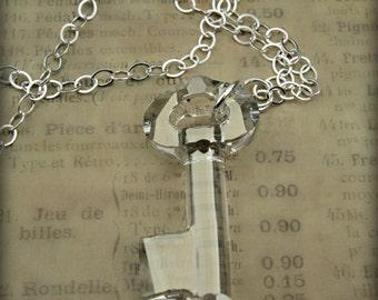 Swarovski Crystal Key Necklace in Sterling Silver