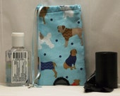 Fabric Leash Dog Poop Bag Holder with Dogs on Blue Background or Hand Sanitizer Holder for Cold/Flu Season (HD-08)