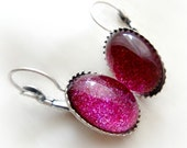 Fuchsia pink glitter earrings, handmade gift - celdeconail