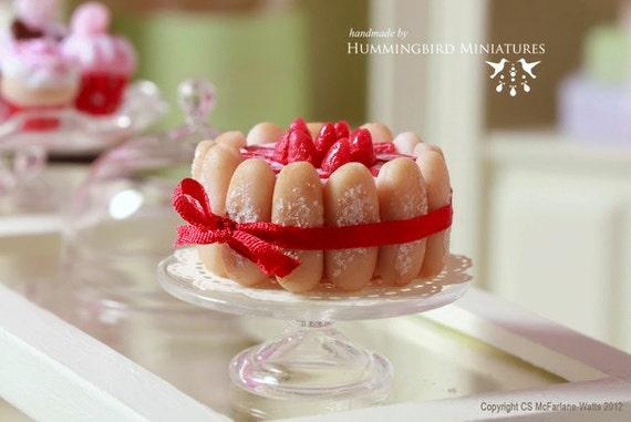 Strawberry Charlotte Cake 1/12 scale dollhouse miniature