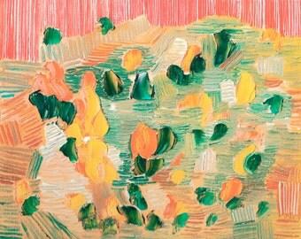 Original Abstract Oil Painting Peach Cyan Home Decor