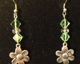 Green and Pink Flower Earrings